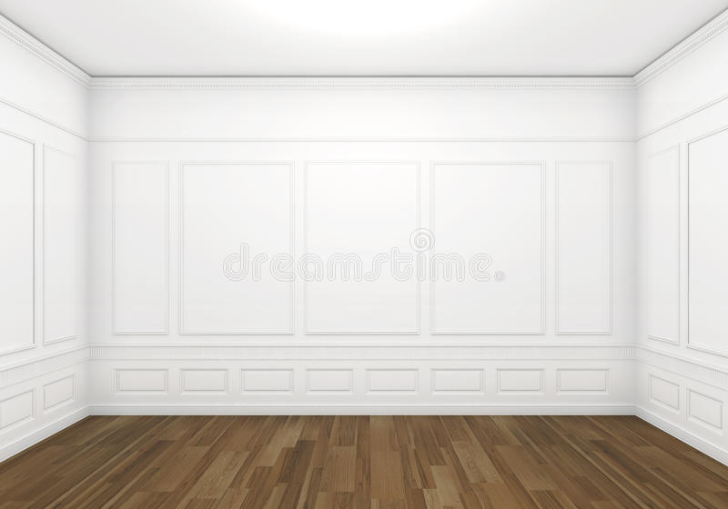 White empty classic room. Classic white empty room with wood floor, frontal view with big copy space stock illustration