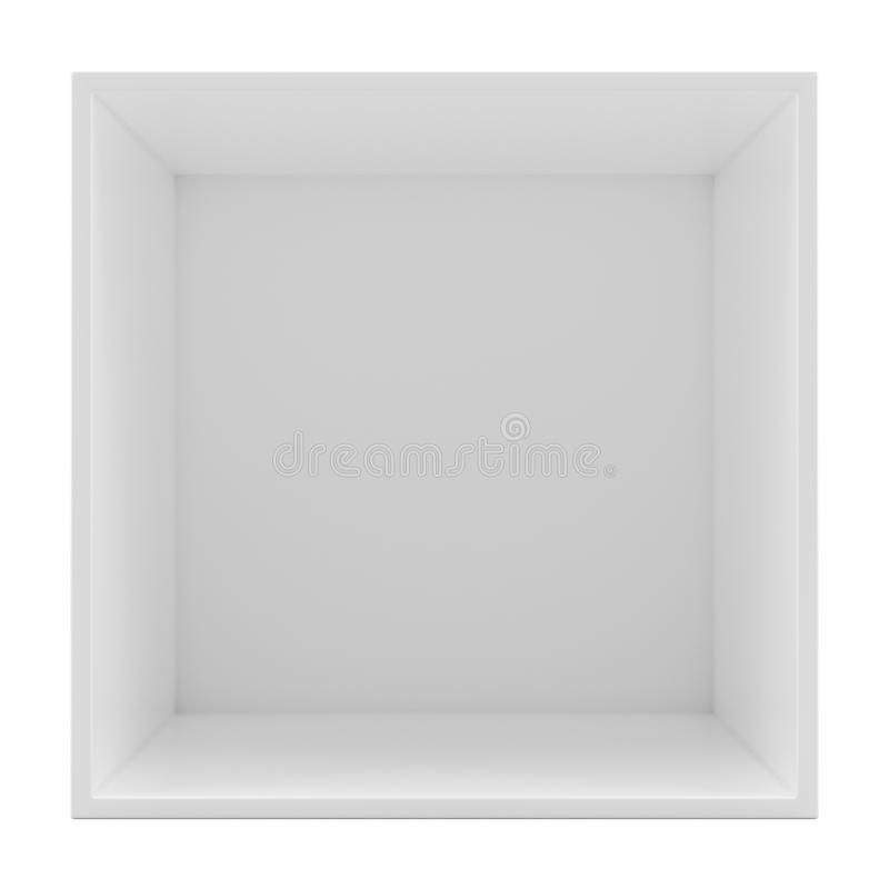 White empty clean shelf box. Isolated on white. 3d rendering. Template shelf or showcase royalty free illustration