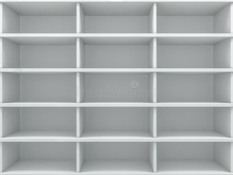 White empty closet. A cupboard with shelves. 3D. Rendering stock illustration