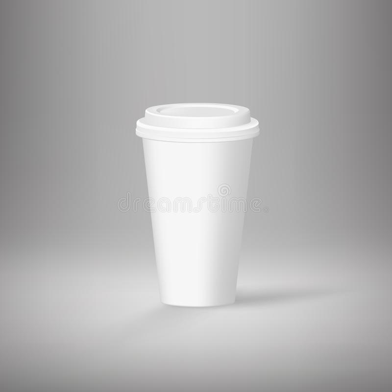 White empty coffee cup template on gray background. Vector. Illustration stock illustration