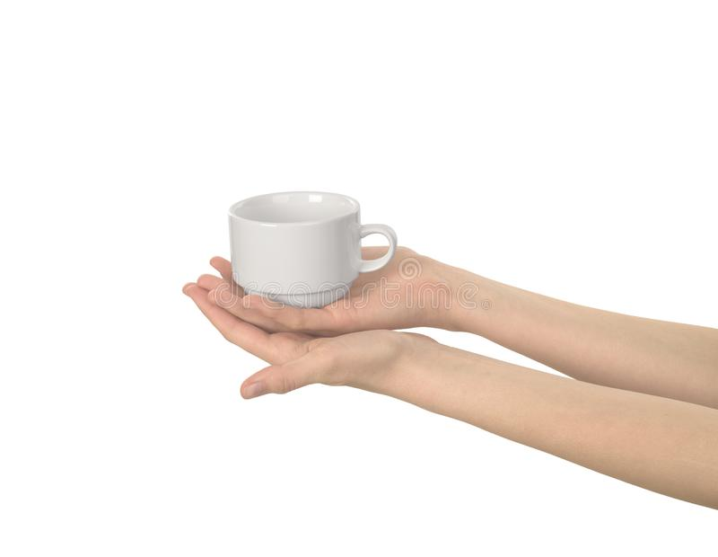 White empty cup in the womens hand. Isolated stock photos