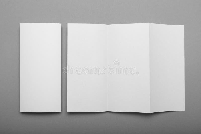 White empty fold leaflet tri fold DL flyer brochure, mockup.  stock image