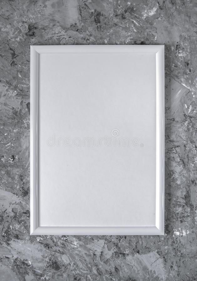 White empty frame on gray concrete background royalty free stock image
