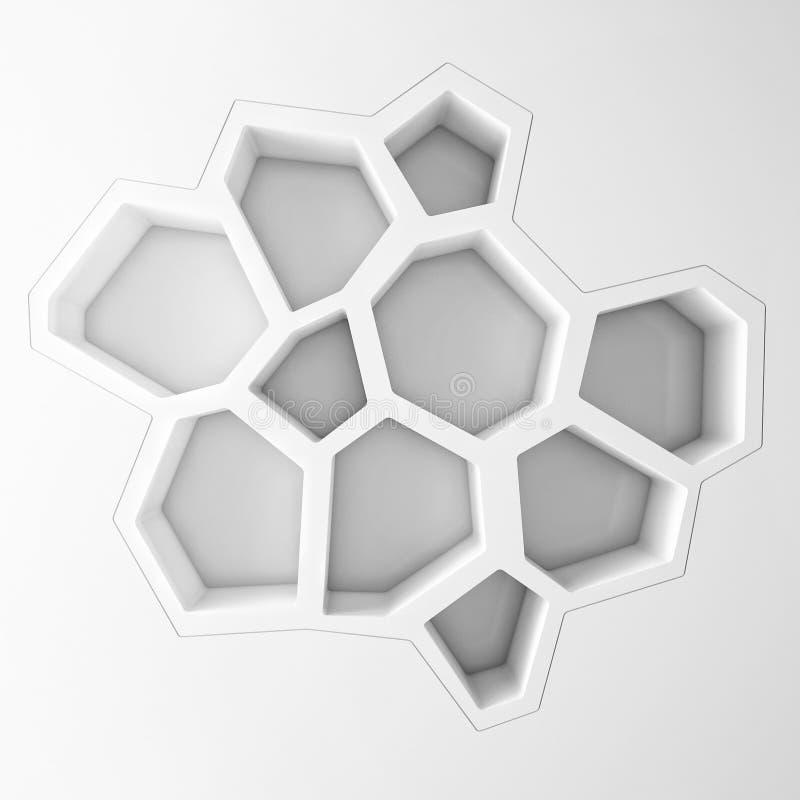 White empty hexagonal shelves stock illustration