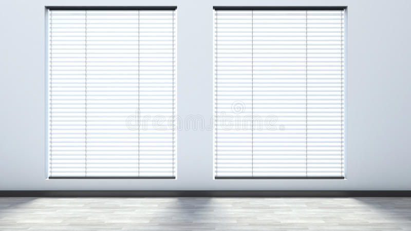 White empty interior with blinds.  vector illustration