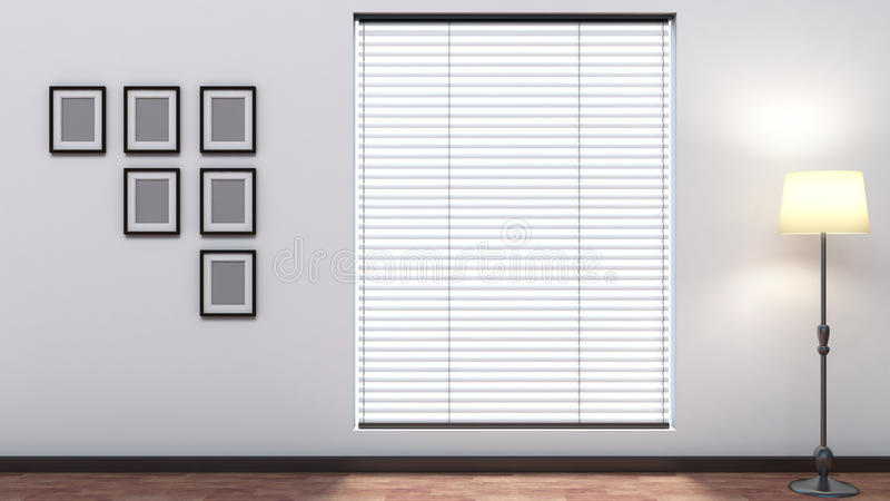 White empty interior with blinds.  stock illustration