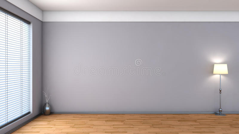White empty interior with blinds.  royalty free illustration
