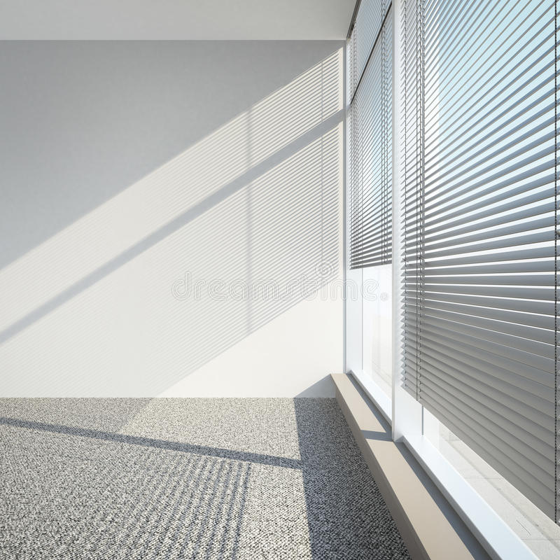 White empty interior with blinds. 3d render stock illustration
