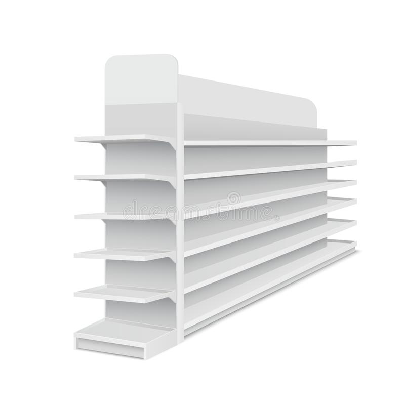White empty long showcase with shelves for products on white background. Rack for supermarkets, shopping centers. Vector illustration stock illustration