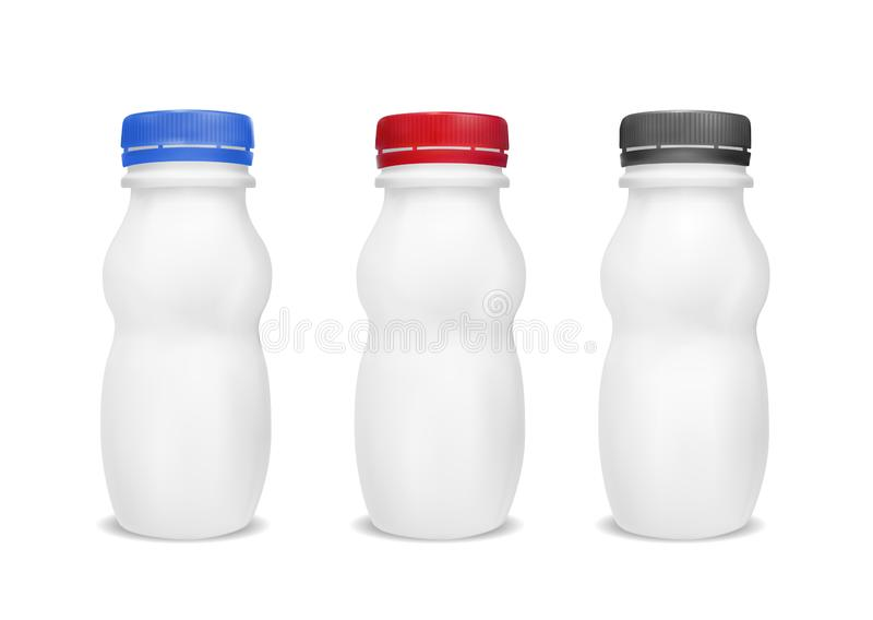 White empty plastic bottle for yogurt. Packaging for sour cream, sauce and snack royalty free illustration