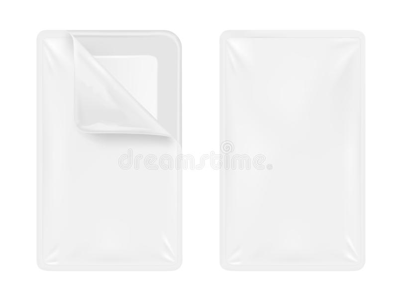 White empty plastic container for food. Packaging for meat, fish and vegetables vector illustration