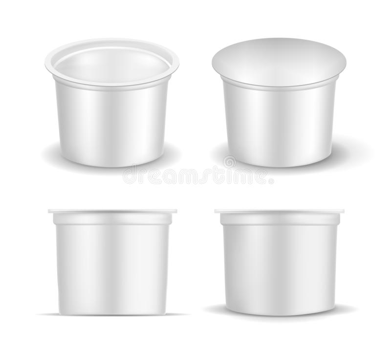 White empty plastic container for yogurt. Packaging for sour cream and sauce vector illustration
