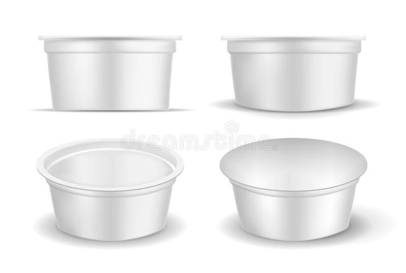 White empty plastic container for yogurt. Packaging for sour cream and sauce stock illustration