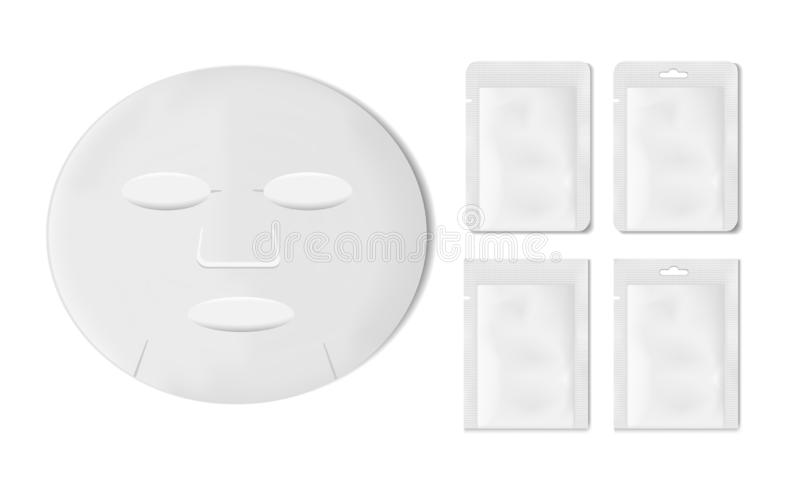 White empty plastic packaging with sheet mask. Blank foil or plastic sachet for food or medicines royalty free illustration
