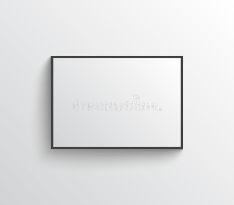 White empty poster with frame mock-up on grey wall vector illustration