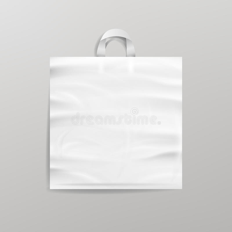 White Empty Reusable Plastic Shopping Bag With Handles. Close Up Mock Up. Vector Illustration royalty free illustration