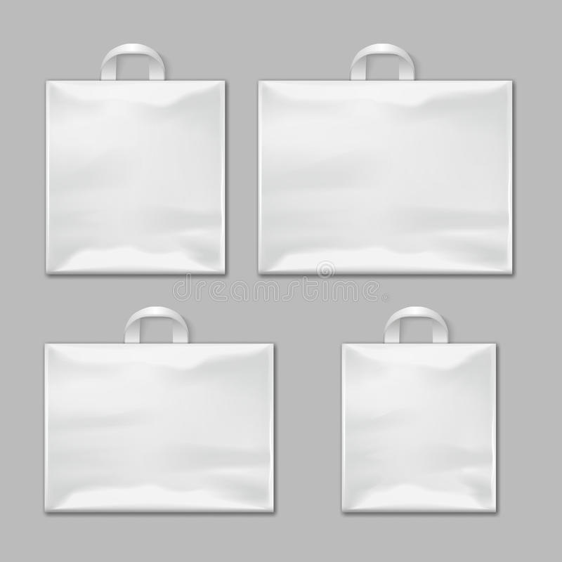 White empty reusable plastic shopping bags with handles vector templates, design mockups vector illustration