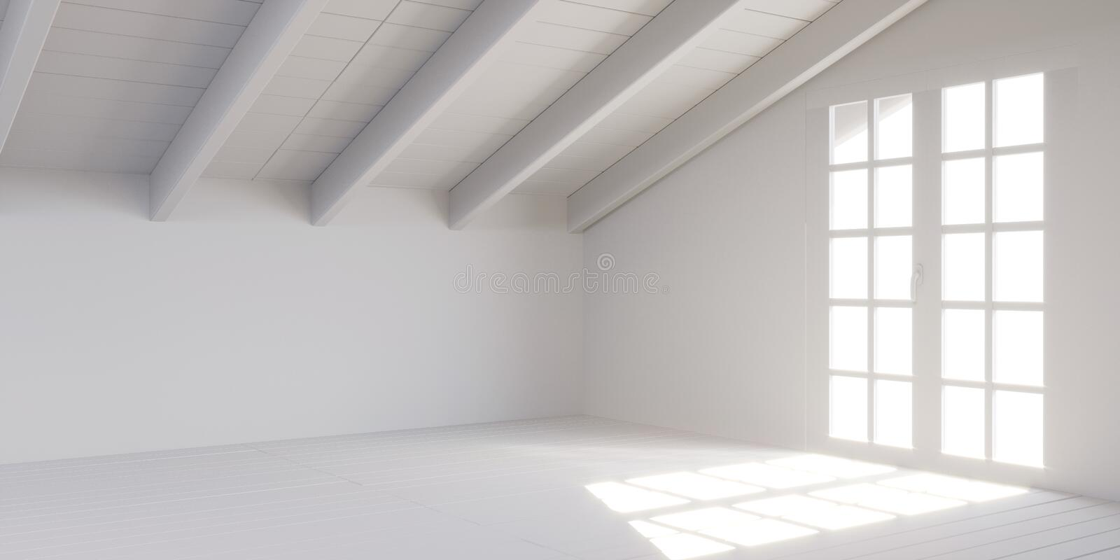 White empty room in attic. stock photography