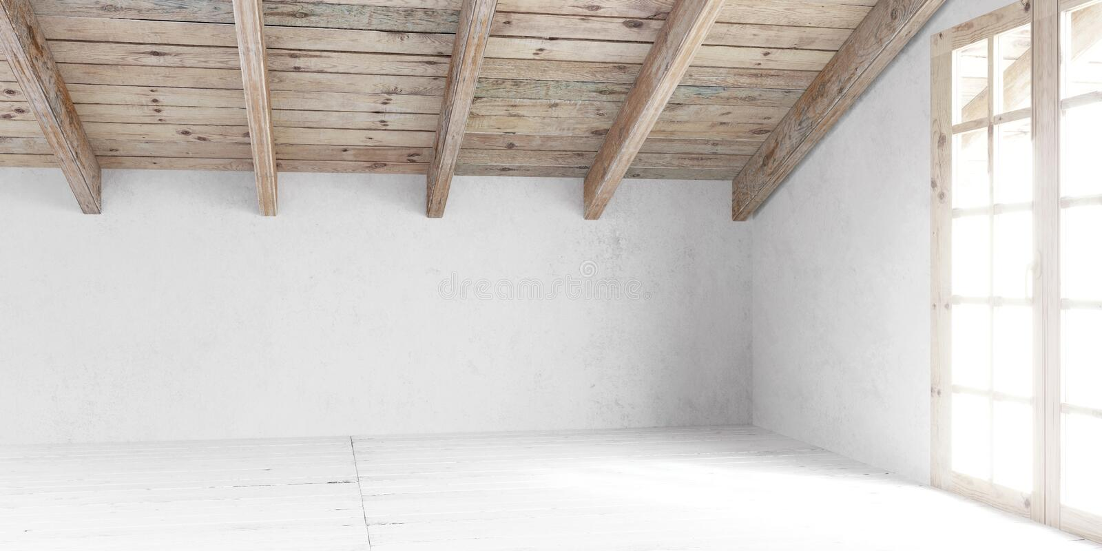 White empty room in attic. royalty free stock image