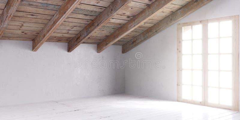 White empty room in attic. stock photo