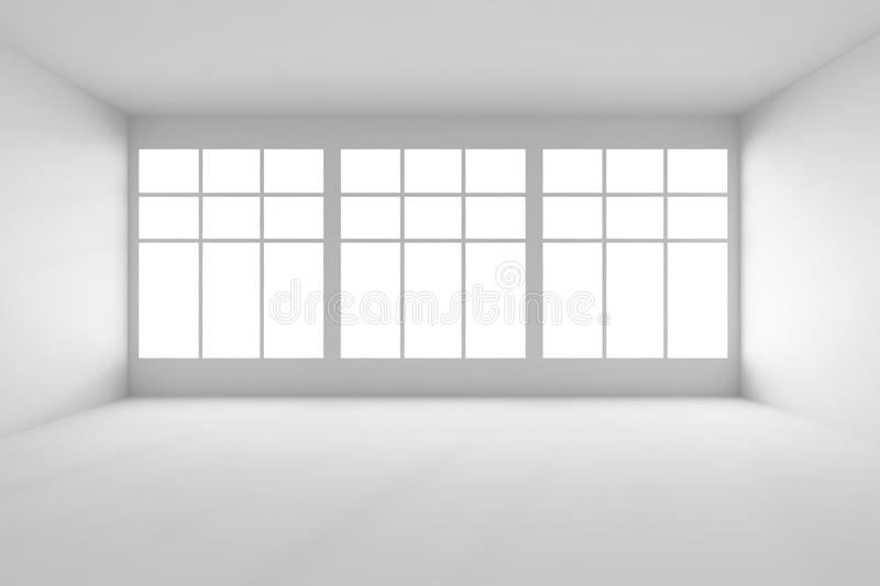 white empty room with big windows front view stock illustration illustration of gray light. Black Bedroom Furniture Sets. Home Design Ideas