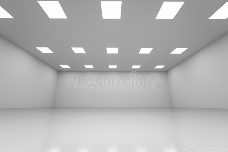 White empty room. 3d rendering empty room with white wall and floor vector illustration