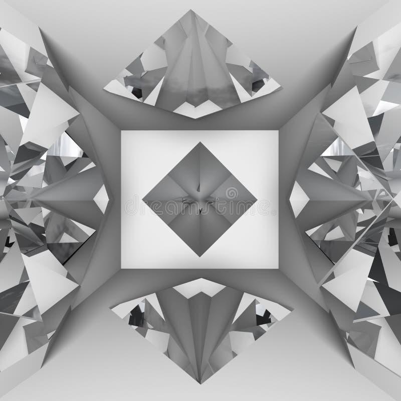 White empty room with diamond