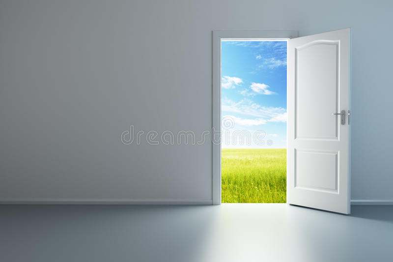 Download White Empty Room With Opened Door Stock Illustration - Illustration of exit, opened: 16811616