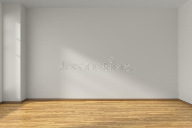 White empty room with parquet floor. Empty room with white flat smooth walls and wooden parquet floor under sun light through window, 3D illustration stock illustration