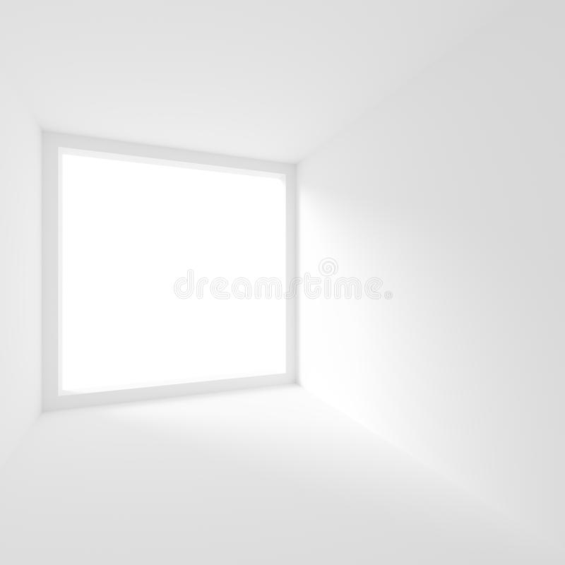 White Empty Room with Window. Modern Interior Background. Creative Engineering Concept. 3d Illustration royalty free illustration