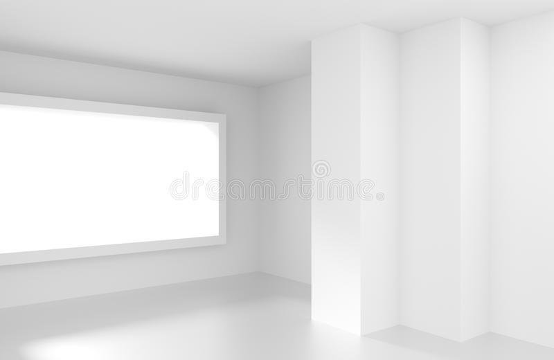 White Empty Room with Window. Modern Interior Background. Creative Engineering Concept stock illustration