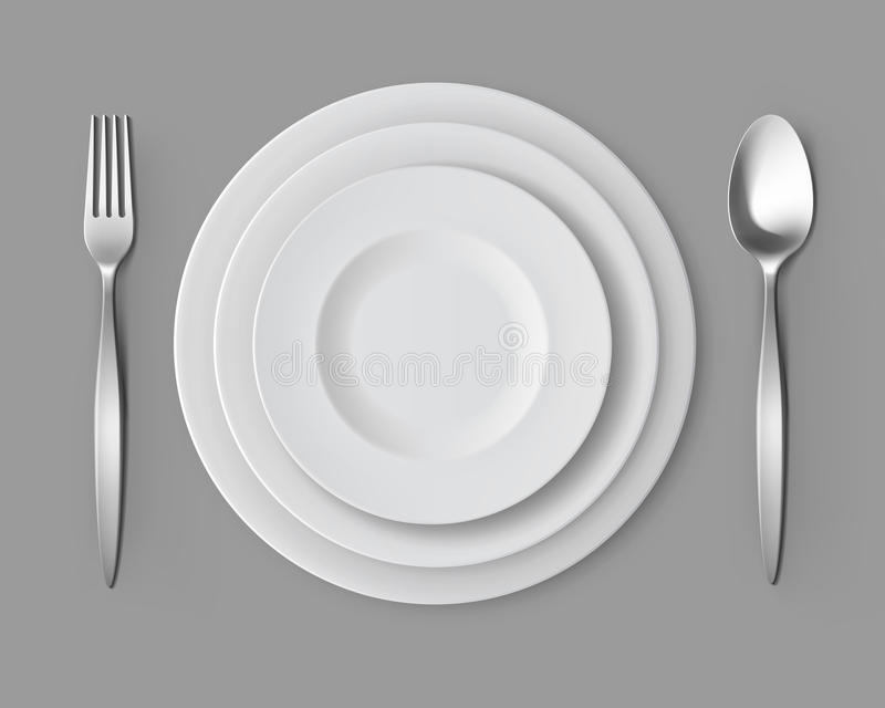 Download White Empty Round Plates With Fork And Spoon Table Setting Stock Vector - Illustration of & White Empty Round Plates With Fork And Spoon Table Setting Stock ...