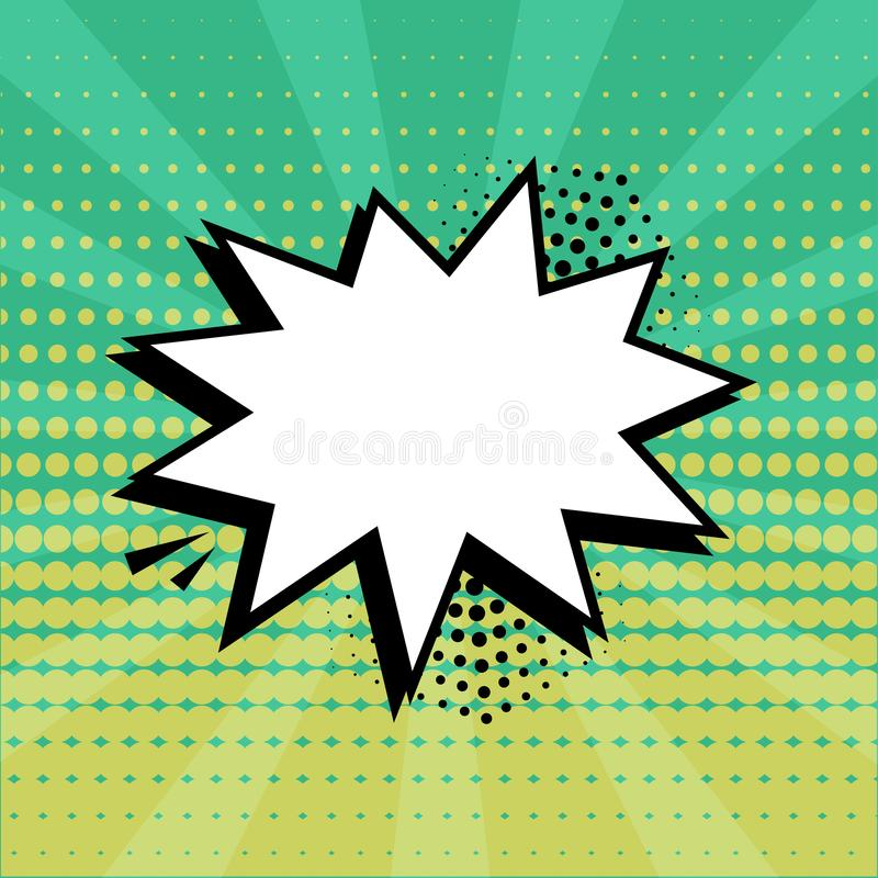 White empty speech bubble with halftone shadow on green background. Comic sound effects in pop art style. Vector. Illustration royalty free illustration