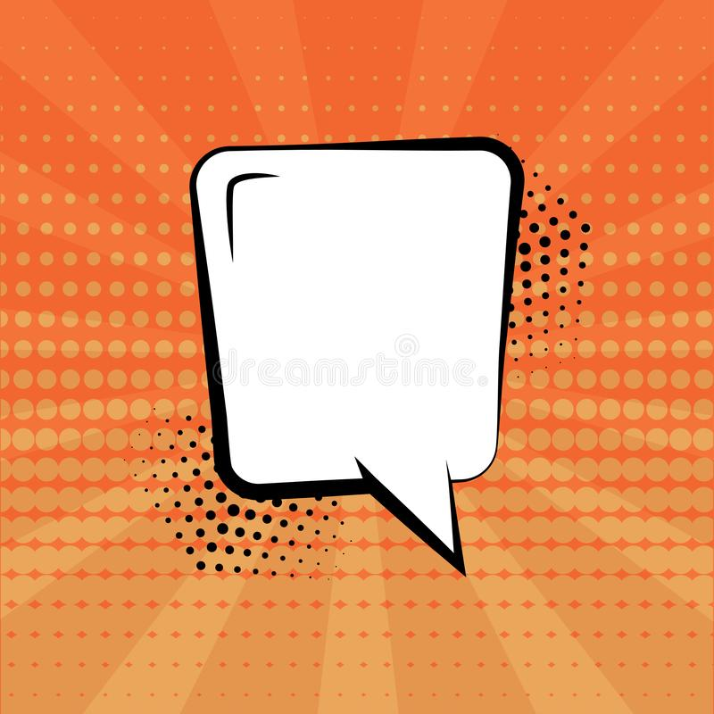 White empty speech bubble with halftone shadow on orange background. Comic sound effects in pop art style. Vector. Illustration royalty free illustration