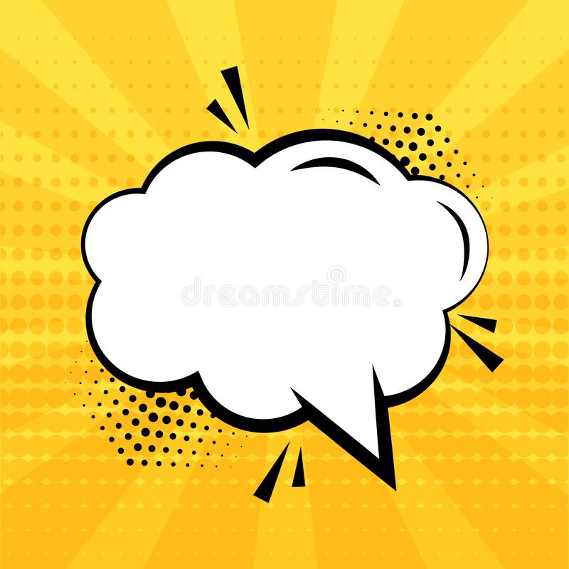 White empty speech bubble with halftone shadow on yellow background. Comic sound effects in pop art style. Vector stock illustration