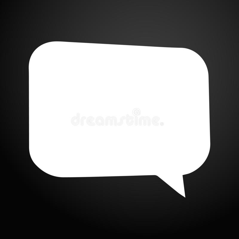 White empty speech bubble - vector illustration isolated on flat square button royalty free illustration