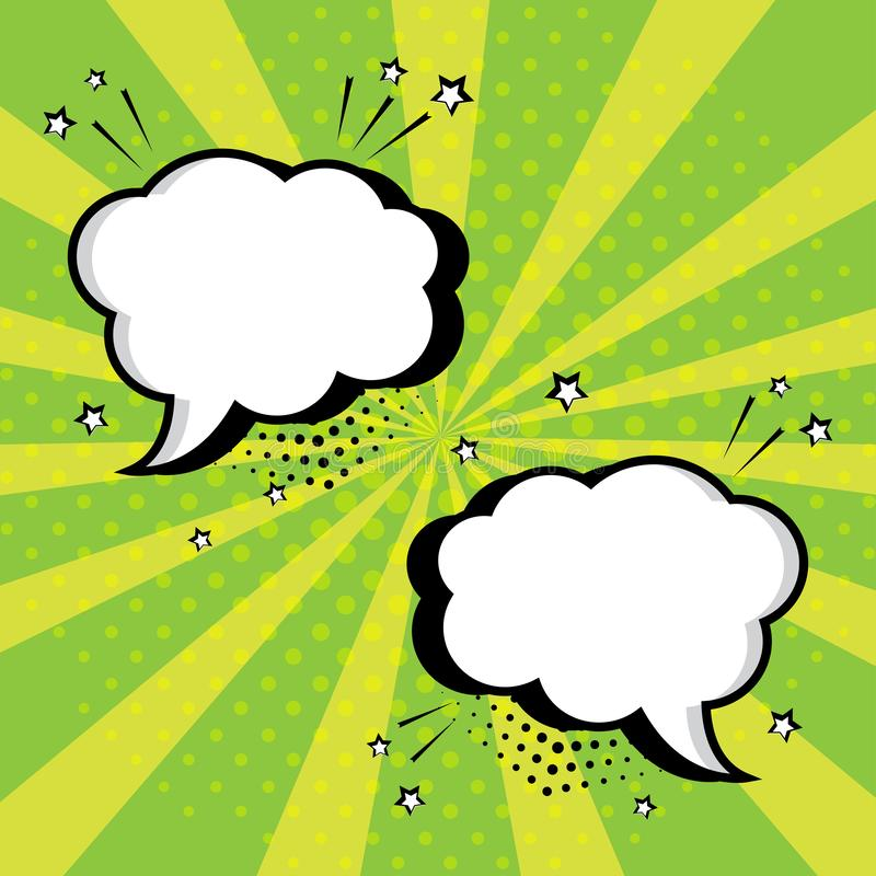 White empty speech bubbles with stars and dots on green background. Comic sound effects in pop art style. Vector illustration stock illustration