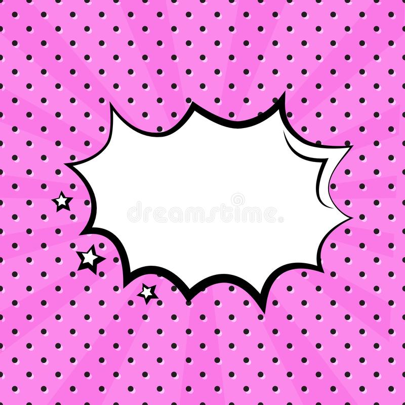 White empty speech comic bubble with stars on pink polka dot background in pop art style. Vector. Illustration royalty free illustration