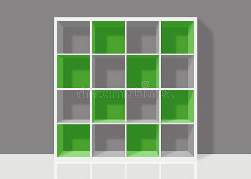 Download White Empty Square Bookshelf With Green Elements On Grey Wall Ba Stock Illustration - Illustration: 30729022