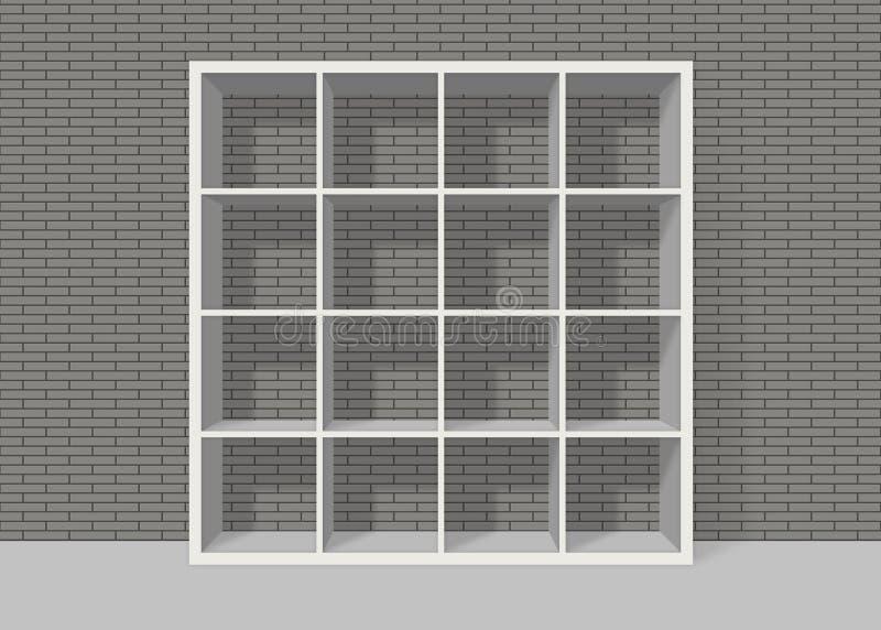 White Empty Square Bookshelf On Grey Brick Wall Background Royalty Free Stock Photos