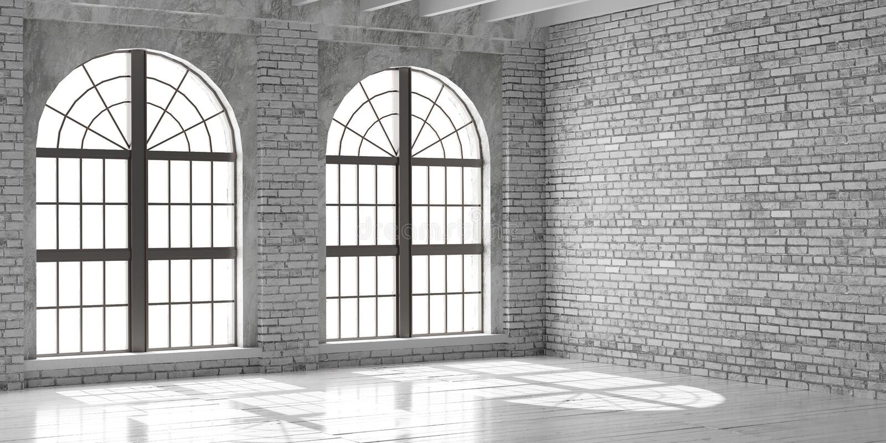 White empty studio or office in loft style. stock photo