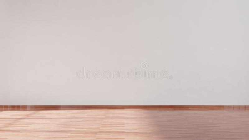 White empty wall with parquet floor royalty free illustration