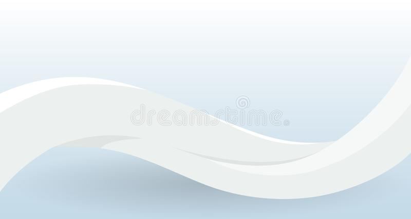 White empty waving banner template. Surrender sign, white flag, defeat symbol for game. Design template for decoration. Of flyer and card, poster, banner and vector illustration