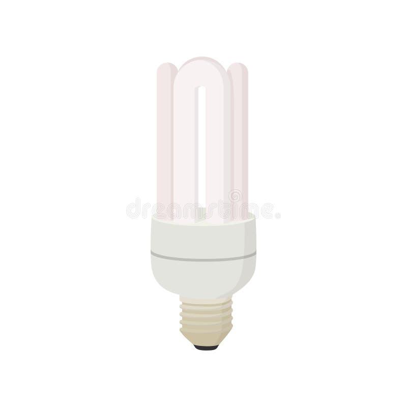 White energy saving bulb icon, cartoon style royalty free illustration