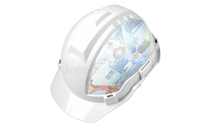 White engineer safety helmet mixed industrial robotics working on smart factory, stock photos