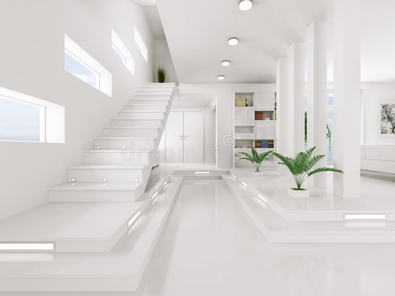 White Entrance Hall Interior 3d Render Royalty Free Stock Images