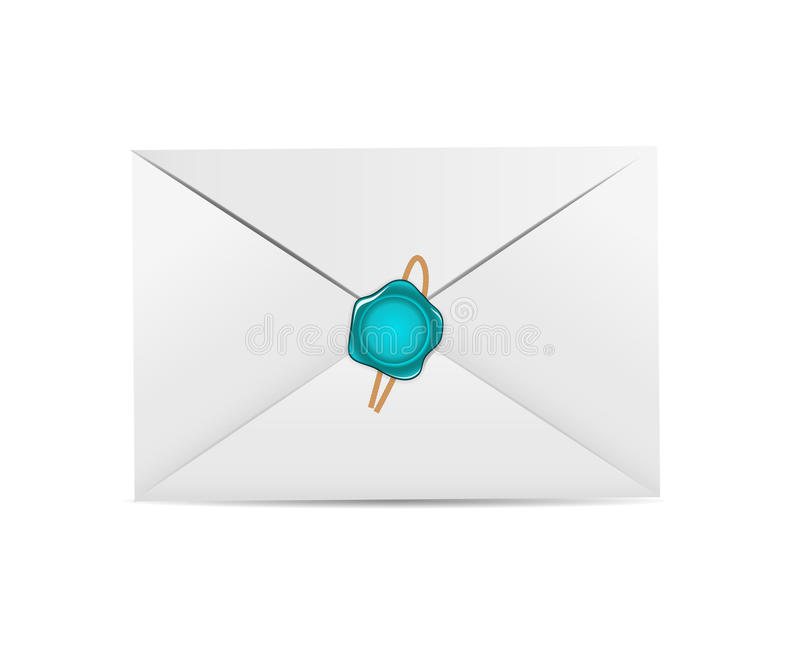 White Envelope Icon with Wax Seal Vector royalty free illustration