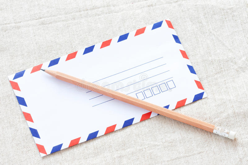 Download White Envelope And Pencil On Fabric Stock Image - Image: 23884099