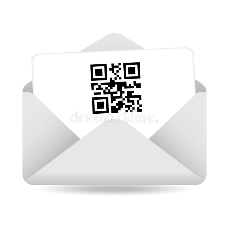 White Envelope With A QR Code Royalty Free Stock Photos