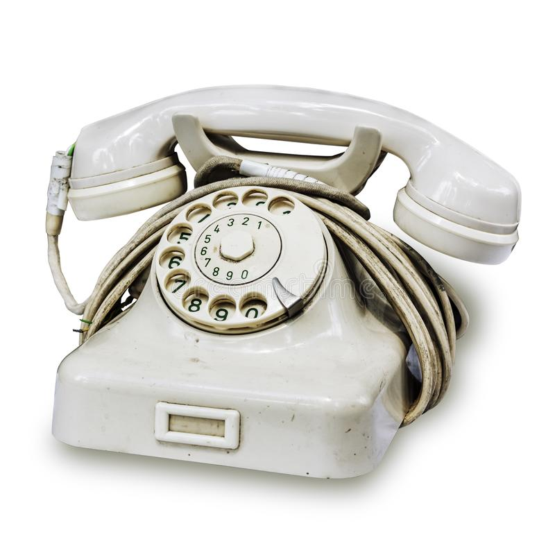 White European rotary dial telephone with green numbers on the finger wheel. Old vintage rotary dial telephone with old rewound. White European rotary dial stock image